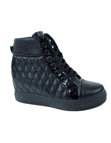 Baskets compensées noires femme simili cuir effet matelassé avec strass noirs