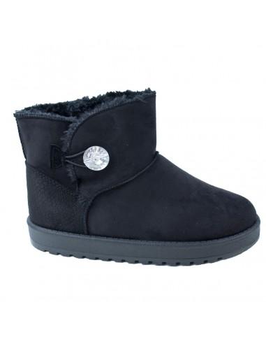 Bottes femme boots noires fourrées basses avec bijoux brillant qualité supérieure