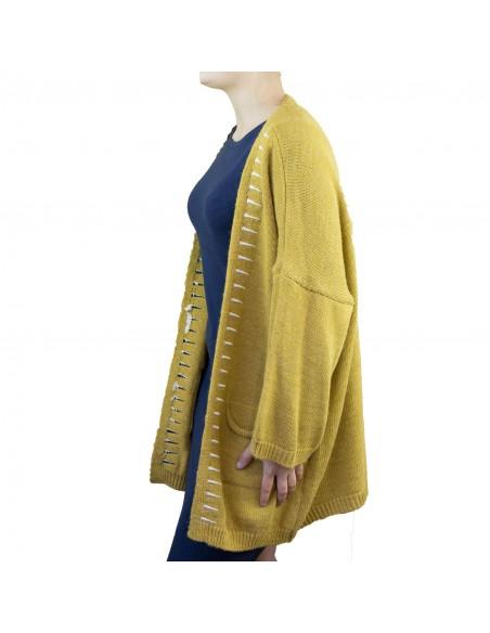 Gilet laine femme ample ouvert en maille colorée motifs aztèques divers couleurs