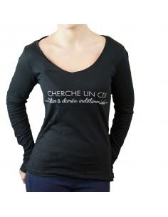 T shirt humour femme noir en coton : Cherche un CDI calin a durée indéterminée