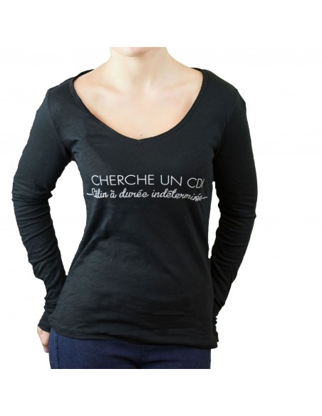 """Tshirt femme noir en coton """"Cherche un CDI calin a durée indéterminée"""""""