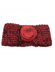 Bandeau cheveux femme aspect laine chaude rouge & noir