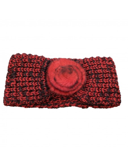 Bandeau cheveux femme aspect laine chaude rouge & noir avec fourrure synthétique