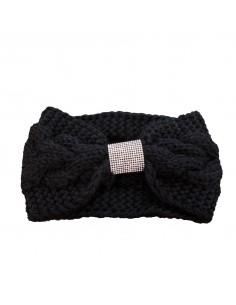 Bandeau femme cheveux noir à strass aspect laine