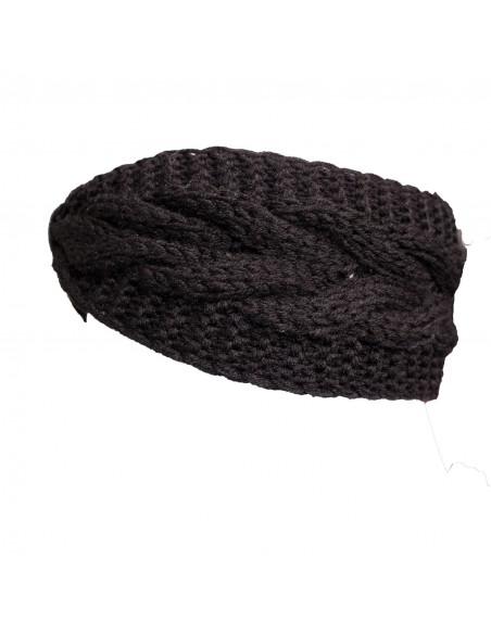 Bandeau cheveux femme noir aspect laine chaude avec strass brillants