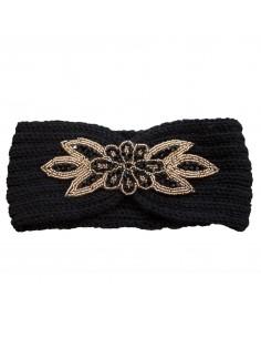 Bandeau laine pour cheveux & strass noir fantaisie fleur perles dorées