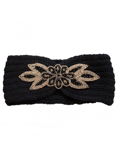 Bandeau cheveux femme noir aspect laine chaude fantaisie fleur perles dorées