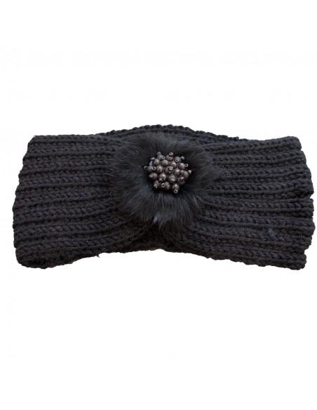 Bandeau cheveux femme aspect laine chaude noire avec fourrure synthétique