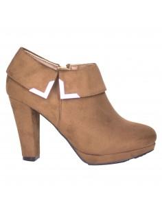 Bottines Femme Low boots femme camel aspect daim fantaisie métal doré