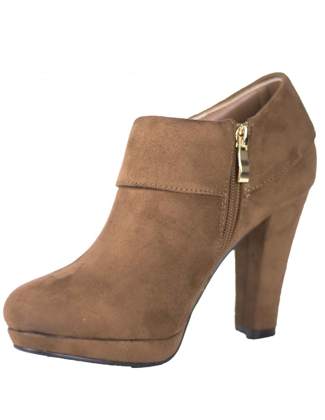 bottines femme low boots camel aspect daim fantaisie m tal dor. Black Bedroom Furniture Sets. Home Design Ideas