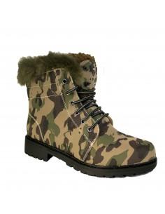 Bottines rangers femme fourree motif militaire camouflage