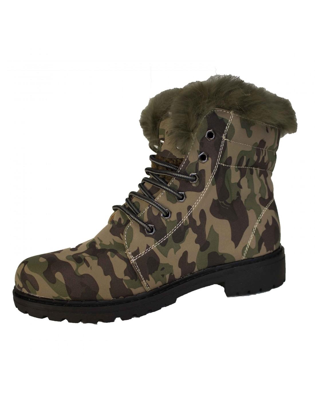 femme fourrée rangers camouflage Bottines army militaire JulFc1TK3