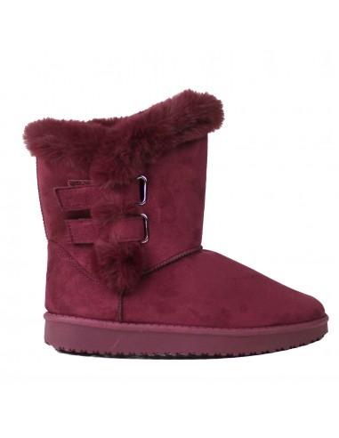 Bottes femme fourrées bordeaux type boots en suédine & fourrure