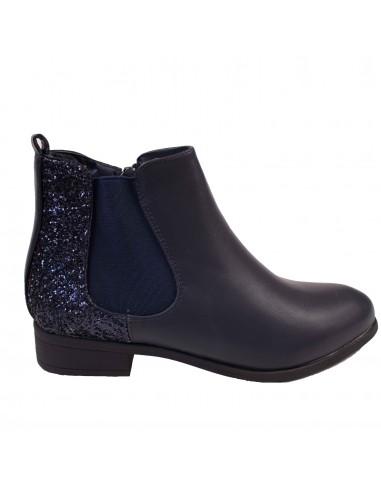 Femme chaussures bottillon cuir Chelsea bottes Bleu foncé 36 pIuKVQF7Dt