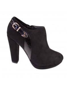 Bottines noires femme a talons forme low boots aspect daim bride vernie croco ecaille