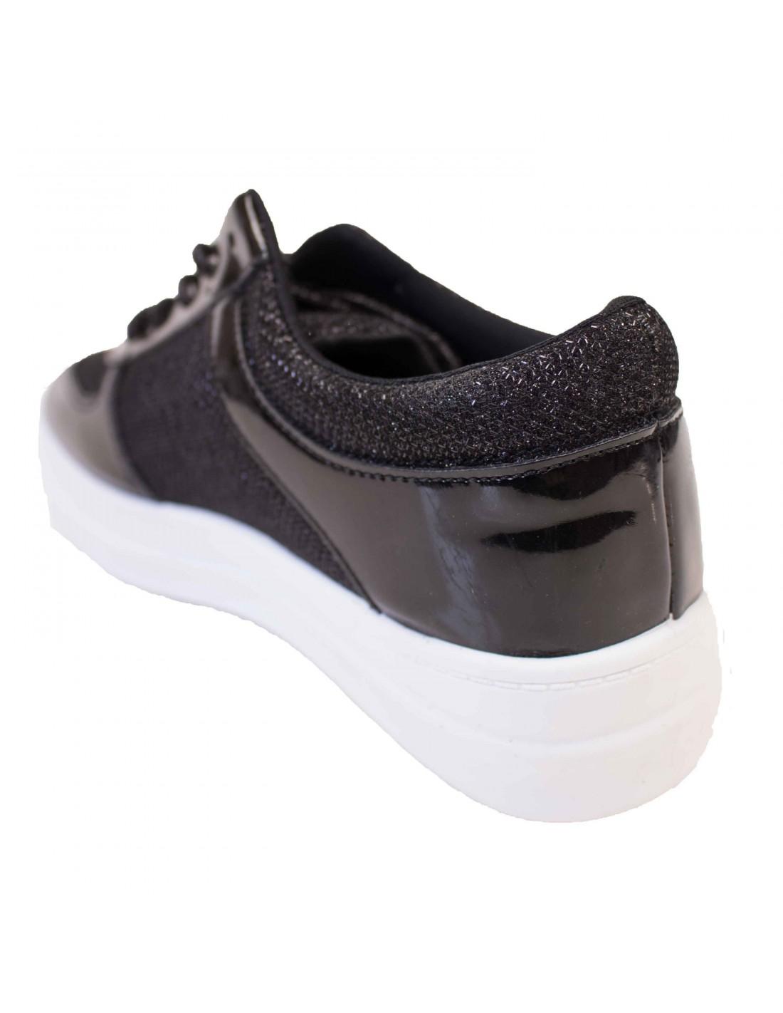 baskets femme noires a plateformes effet paillete verni. Black Bedroom Furniture Sets. Home Design Ideas