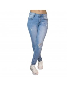 Jean stretch femme bleu clair coupe slim taille haute effet dégradé & accros