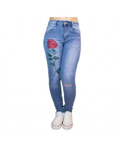 Jean slim femme elastique bleu clair motif rose cousue & genou troue