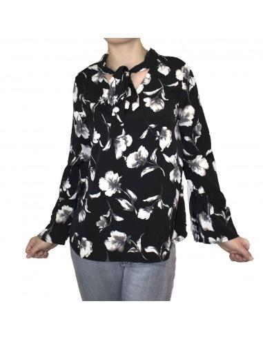 Chemisier blouse femme noir motif fleur blanche col lavalliere & manches a volants
