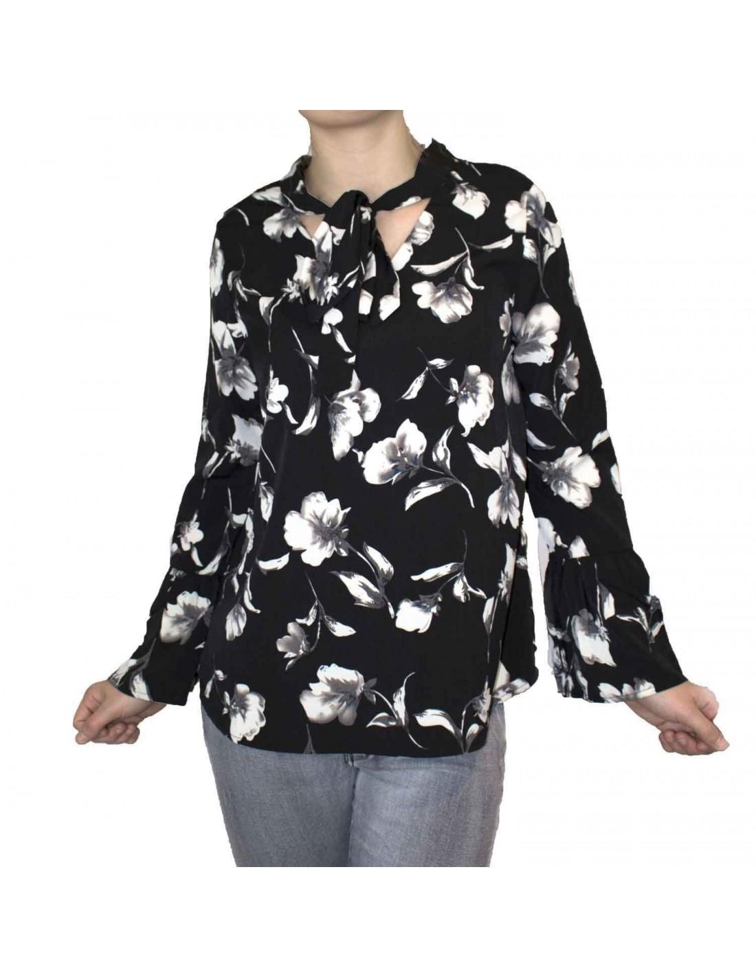 chemisier femme noir motif fleur col lavalliere manches a volants. Black Bedroom Furniture Sets. Home Design Ideas
