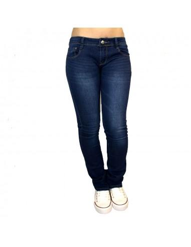 Jean taille basse femme bleu foncé effet délavé coupe bas évasé