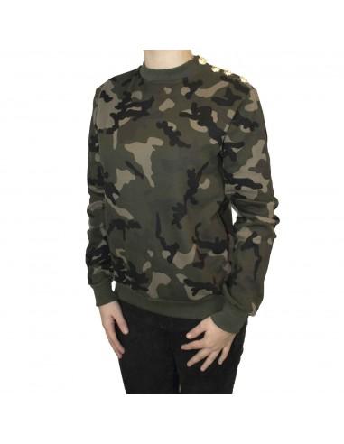 Sweat militaire femme motif camouflage kaki boutons dorés