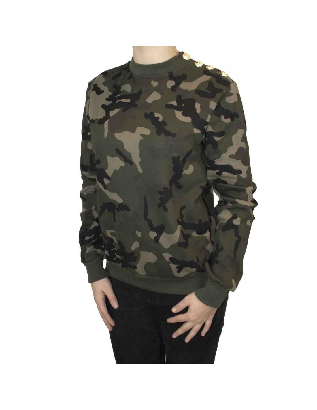 sweat militaire femme motif camouflage kaki boutons dor s. Black Bedroom Furniture Sets. Home Design Ideas