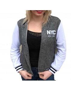 Veste teddy femme courte bombers gris & blanc New York en coton