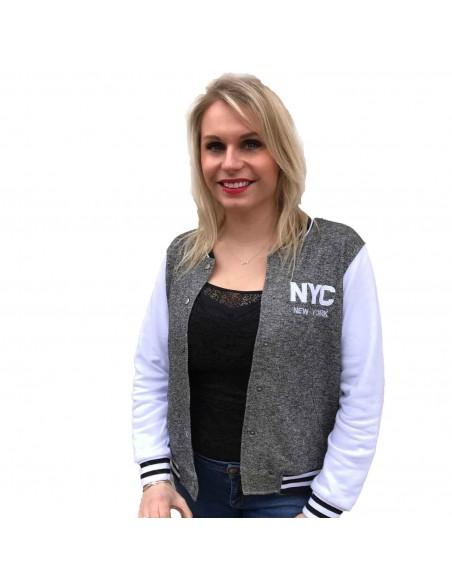 Veste teddy bombers femme gris & blanc NYC en coton