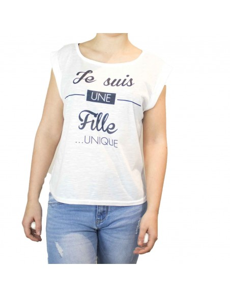T shirt humour femme : Je suis une fille unique  blanc col & manches évasés