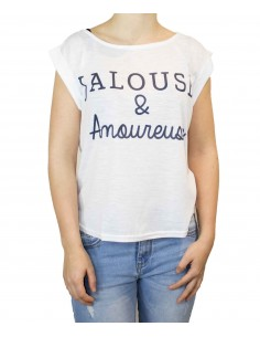 T shirt humour femme blanc col large & manches évasés : Jalouse & Amoureuse