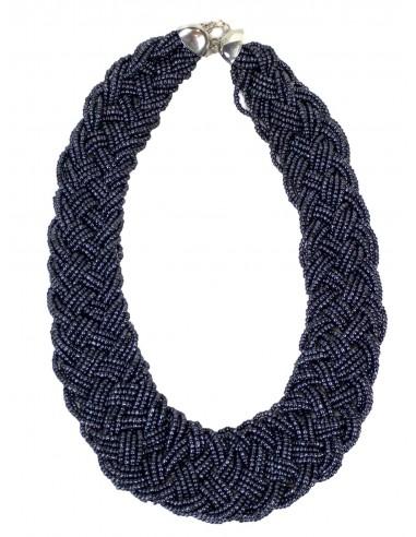 Collier de perles tressées fermeture mousqueton bijoux fantaisie divers coloris
