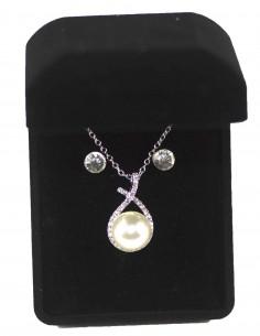Parure de bijoux avec Perle nacrée et strass, Collier et Boucles D'oreilles  - Coffret Cadeaux Femme Fille