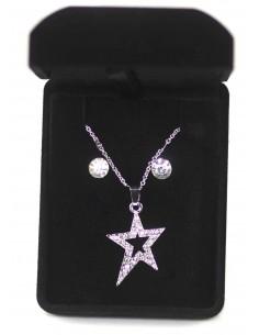 Coffret Cadeaux Femme - Parure de bijoux avec pendentif étoile strass dorée ou argentée et Collier et Boucle D'oreille