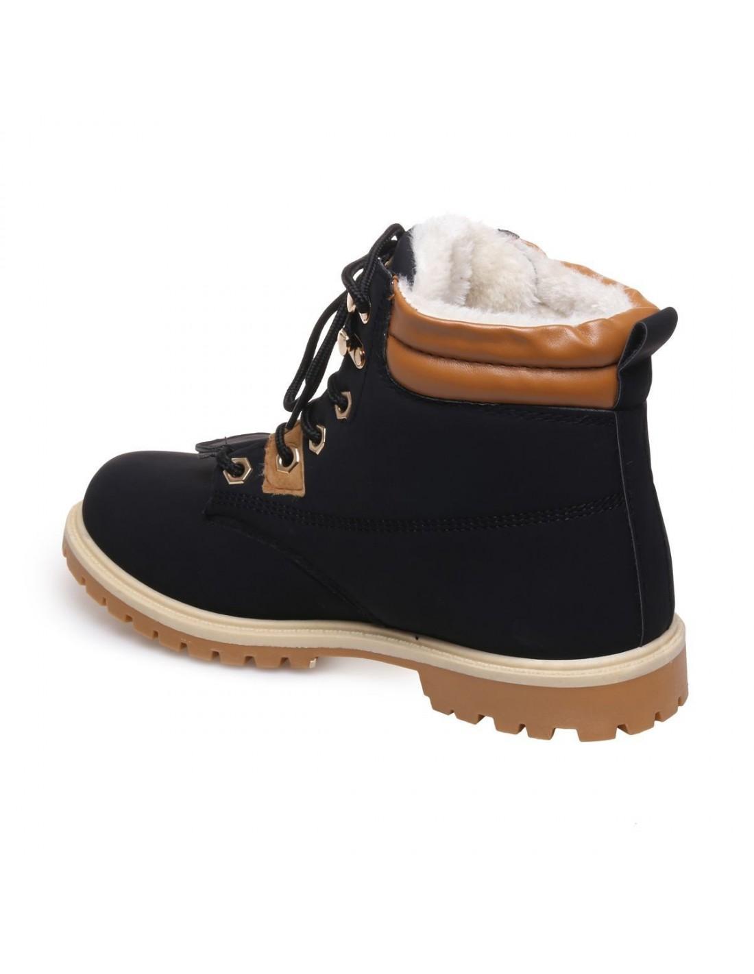 c7245dcd21d Boots fourrées femme type rangers noires empiècement simili cuir camel