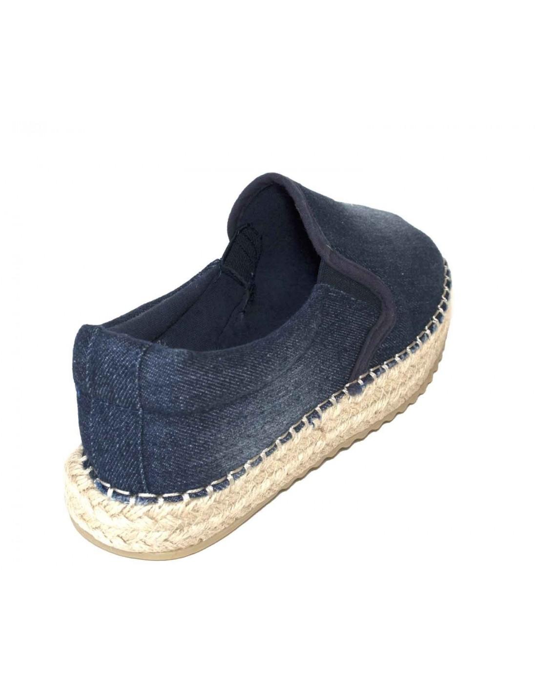 Espadrilles en jean pour femme avec plateformes contours corde t6FfG2WN