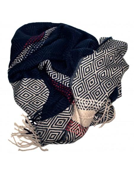 Grande écharpe plaid femme laine douce & motif losange triangle
