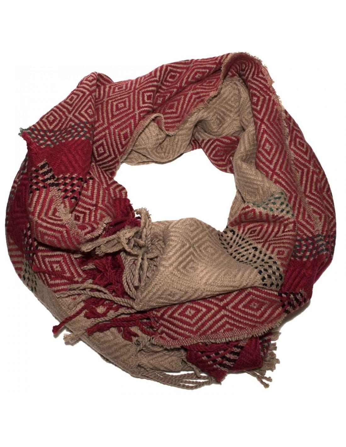 sensation de confort plus bas rabais les dernières nouveautés Grande écharpe plaid femme laine douce & motif losange triangle