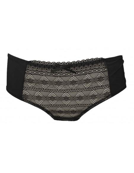 Shorty noir lingerie sexy femme aspect lycra et motif dentelle