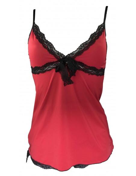 Ensemble nuisette rouge et noir dentelle débardeur & shorty pyjama sexy