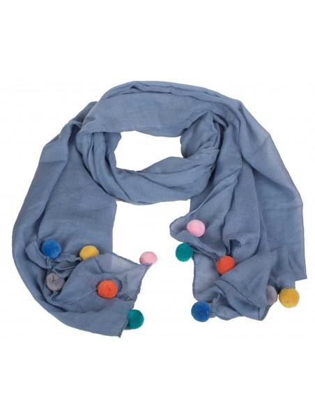Foulard avec pompons colorés type grand foulard chèche en coton uni avec pompons