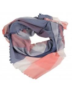 Foulard à carreaux type châle coton imprimé vichy rose bleu gris accessoire de mode