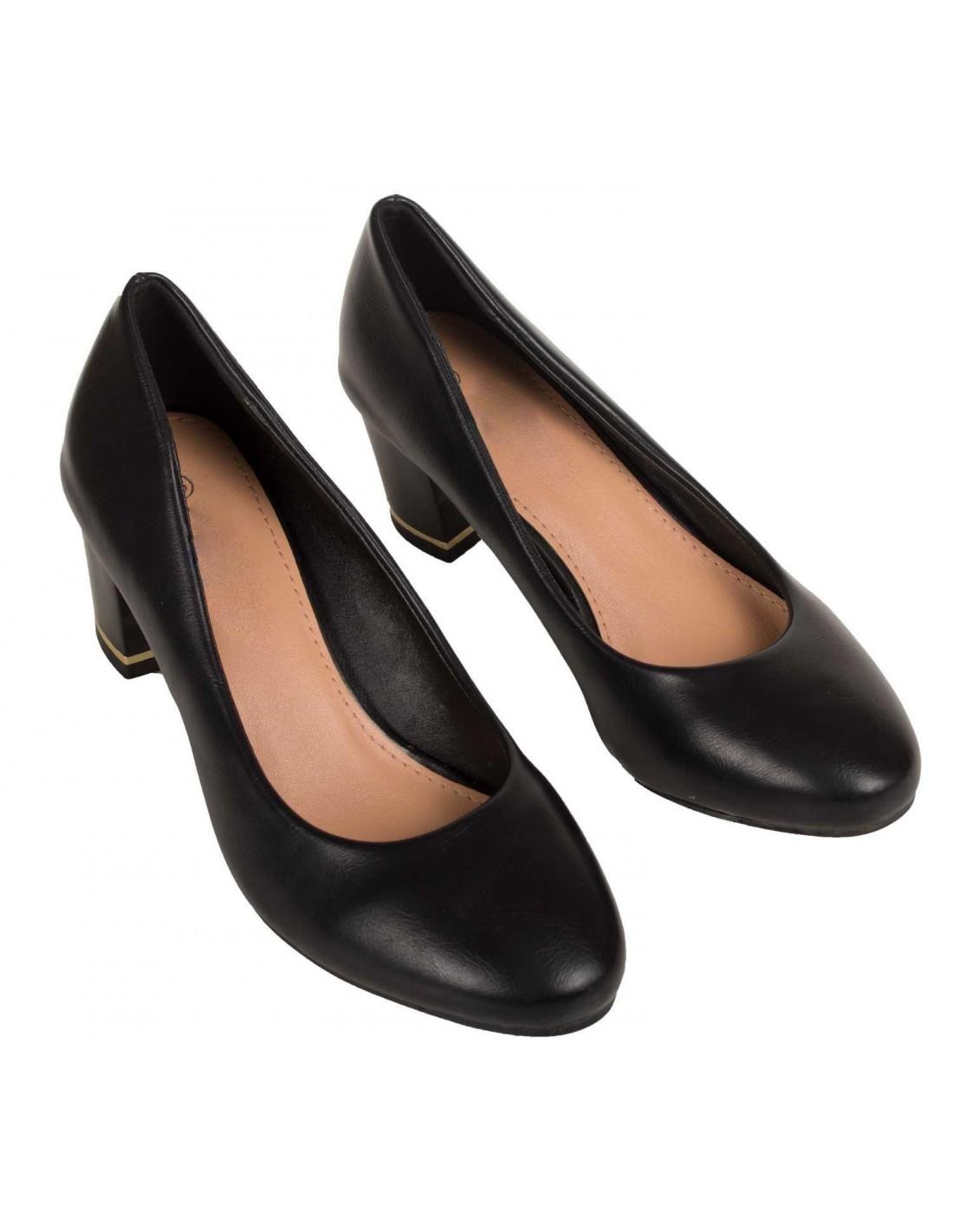escarpins noir bout rond simili cuir petit talon carr. Black Bedroom Furniture Sets. Home Design Ideas