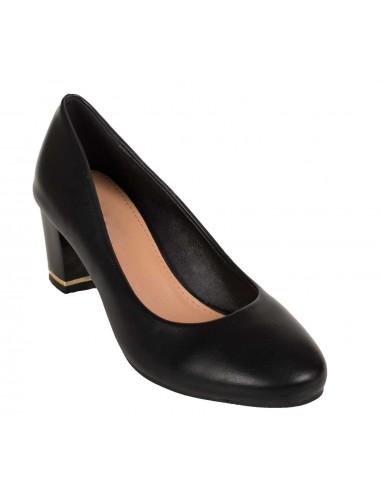 Escarpins noir à bout rond en simili cuir petit talon carré épais et stable