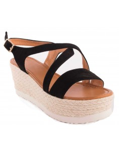 Sandales à plateforme compensée noir en suédine talon corde & brides ouvertes