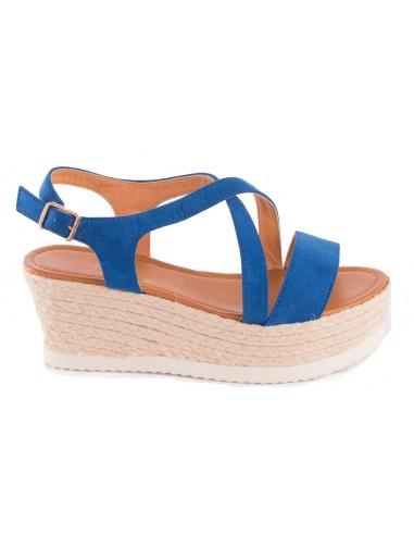 Sandales bleu à plateforme compensée en suédine talon corde & brides ouvertes