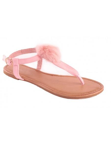 Sandales femme rose avec pompon fourrure sythétique rose type sandale plage