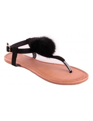 Sandales femme noir avec pompon fourrure synthétique noir type sandale plage