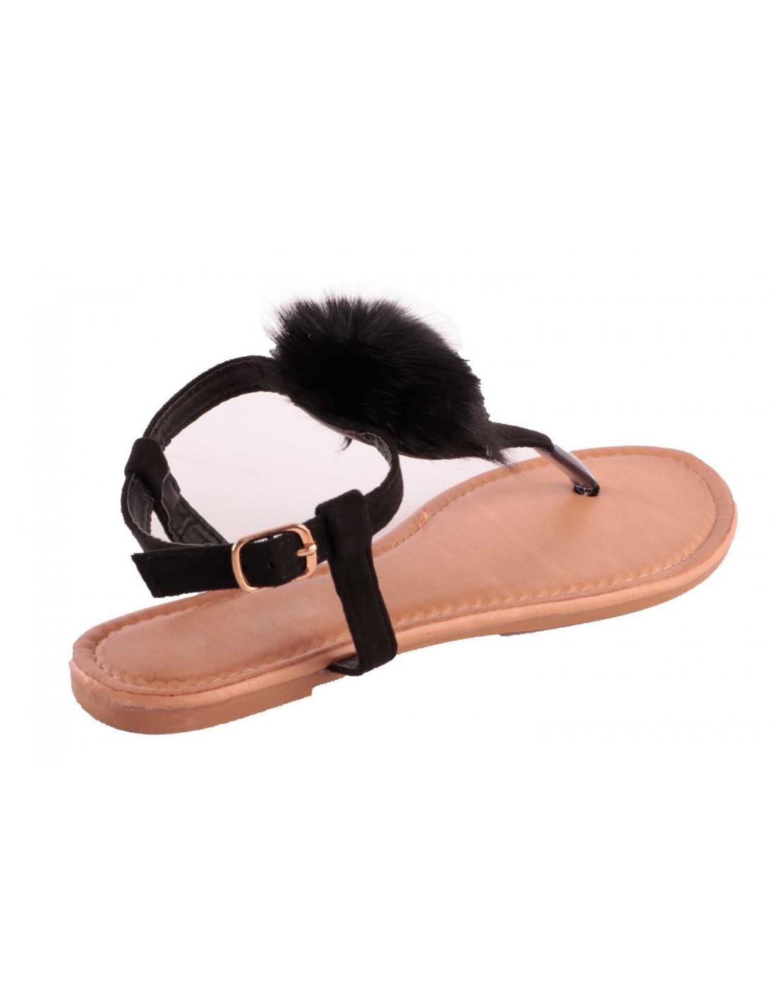 sandales femme noir pompon fourrure synth tique noir sandale plage. Black Bedroom Furniture Sets. Home Design Ideas