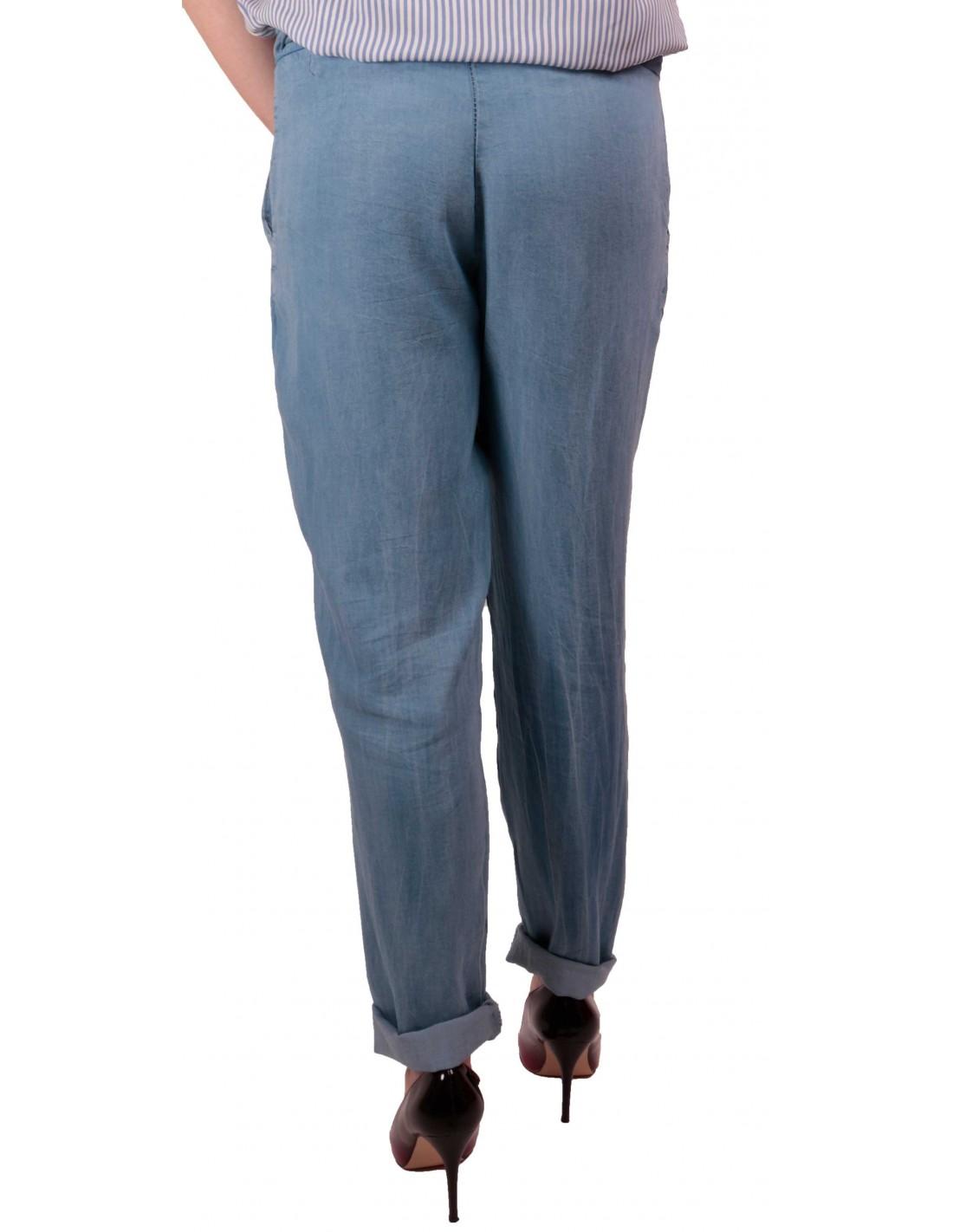 pantalon femme fluide jean clair taille lastique ceinture noeud. Black Bedroom Furniture Sets. Home Design Ideas